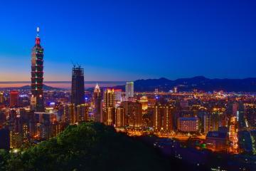 View of Taipei, Taiwan at dusk